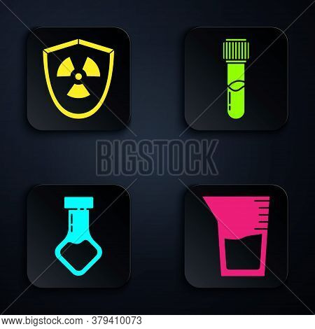 Set Laboratory Glassware Or Beaker, Radioactive In Shield, Test Tube And Flask Chemical And Test Tub