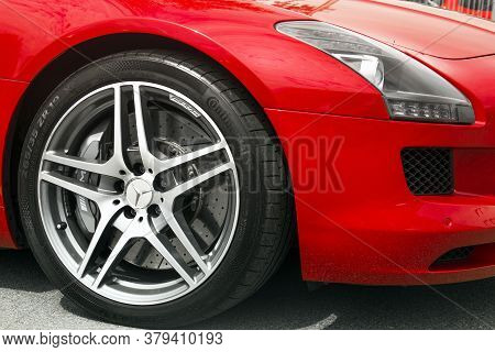 Kiev, Ukraine - May 19, 2020: Mercedes-benz Sls Amg Supercar Close Up. Car Wheel. Continental Tires.