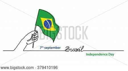 Brazil Independence Day Simple Web Banner, Background With Flag And Hand. One Continuous Line Drawin