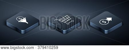 Set Isometric Lead Management, Coin Money With Dollar Symbol And Shopping Cart Icon. Vector