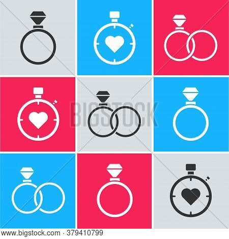 Set Wedding Rings, Heart In The Center Stopwatch And Wedding Rings Icon. Vector