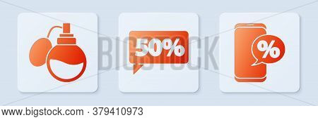 Set Fifty Discount Percent Tag, Perfume And Percent Discount And Phone. White Square Button. Vector