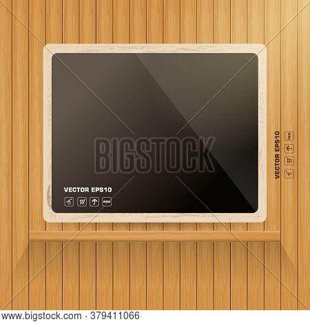 Vector Wooden Background With Vintage Foto Frame. Decoretive Design Template.
