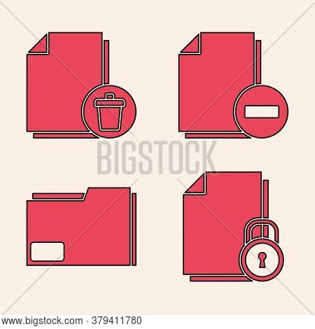 Set Document And Lock, Delete File Document, Document With Minus And Document Folder Icon. Vector