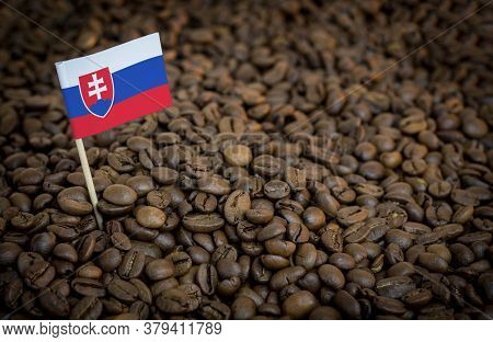 Slovakia Flag Sticking In Roasted Coffee Beans. The Concept Of Export And Import Of Coffee