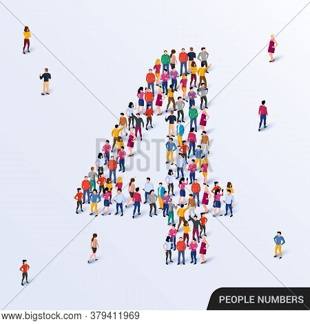 Large Group Of People In Number 4 Four Form