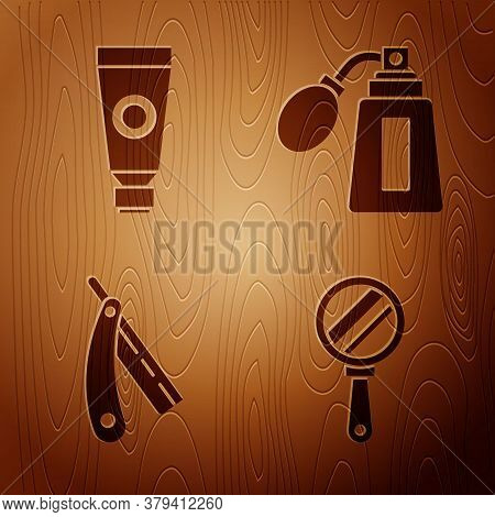 Set Hand Mirror, Cream Or Lotion Cosmetic Tube, Straight Razor And Aftershave Bottle With Atomizer O