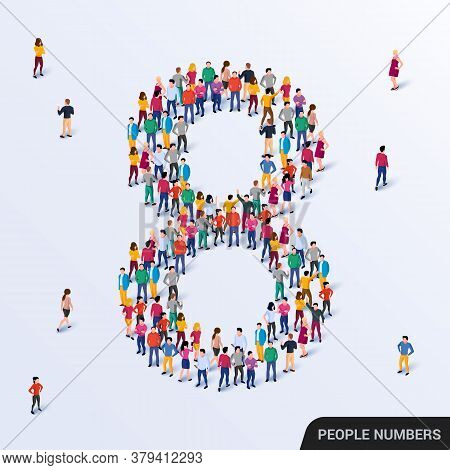 Large Group Of People In Number 8 Eight Form
