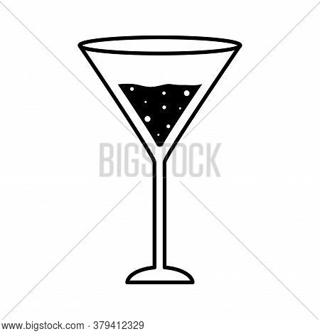 Martini Cocktail Glass Cup Silhouette Style Icon Design, Alcohol Drink Bar And Beverage Theme Vector