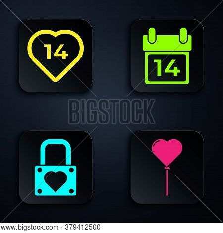 Set Balloons In Form Of Heart, Heart, Lock And Heart And Calendar With February 14. Black Square But
