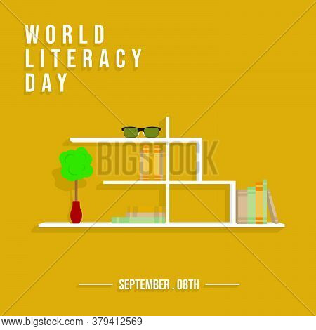 Bookshelf Vector Illustration. Perfect Template For World Literacy Day Design.