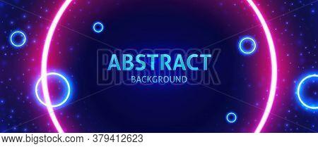 Cosmic Abstract Vector Illustration. Bright Neon Circles.