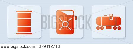 Set Canister For Motor Oil, Barrel Oil And Oil Railway Cistern. White Square Button. Vector