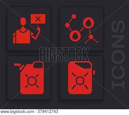 Set Canister For Motor Oil, Nature Saving Protest, Molecule Oil And Canister For Motor Oil Icon. Vec