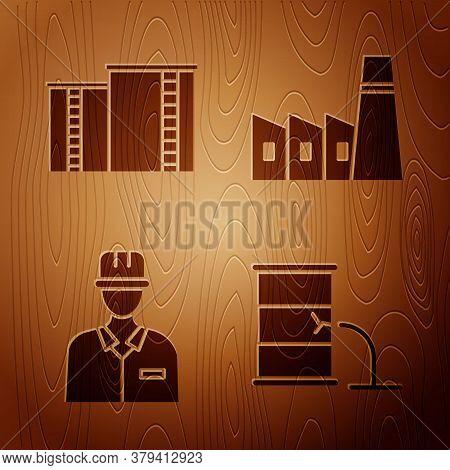 Set Barrel Oil Leak, Oil Industrial Factory Building, Oilman And Oil Industrial Factory Building On