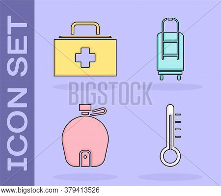 Set Meteorology Thermometer, First Aid Kit, Canteen Water Bottle And Suitcase Icon. Vector