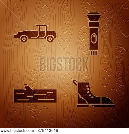 Set Hiking Boot, Car, Wooden Log And Flashlight On Wooden Background. Vector