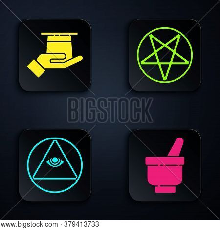 Set Magic Mortar And Pestle, Magician Hat In Hand, Masons And Pentagram In A Circle. Black Square Bu