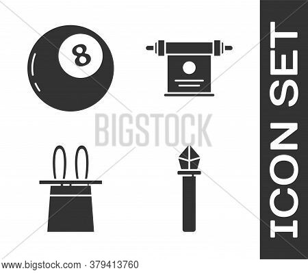 Set Magic Staff, Magic Ball Of Predictions, Magician Hat And Rabbit Ears And Magic Scroll Icon. Vect