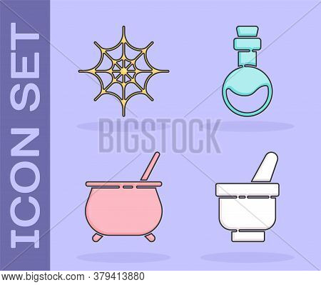 Set Magic Mortar And Pestle, Spider Web, Witch Cauldron And Bottle With Love Potion Icon. Vector