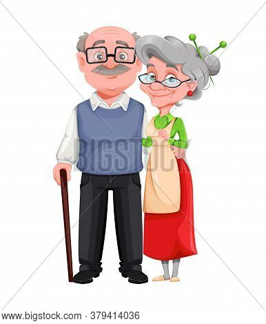 Happy Grandparents Day. Cheerful Grandmother And Grandfather Cartoon Characters. Grandma And Grandpa