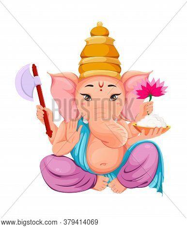 Lord Ganesha. Ganpati Idol In Traditional Indian Clothes For Ganesha Chaturthi Holiday. Vector Illus