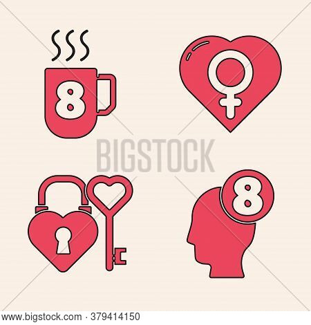 Set 8 March In Human Head, Coffee Cup With 8 March, Female Gender In Heart And Castle And Key In Hea
