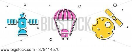 Set Satellite, Space Capsule And Parachute And Satellites Orbiting The Planet Earth Icon. Vector
