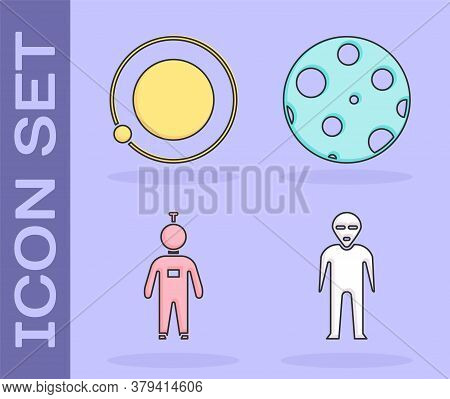 Set Alien, Satellites Orbiting The Planet Earth, Astronaut And Moon Icon. Vector