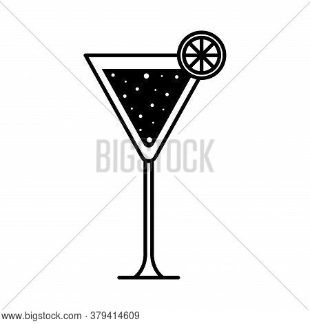 Martini Glass Cup With Lemon Silhouette Style Icon Design, Alcohol Drink Bar And Beverage Theme Vect