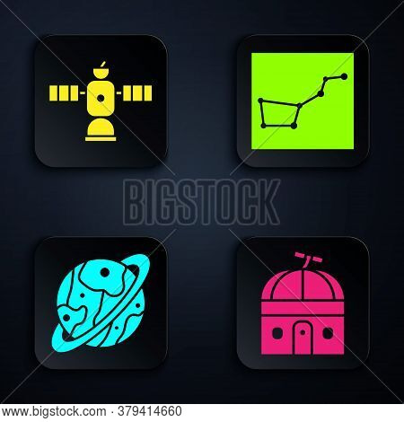 Set Astronomical Observatory, Satellite, Planet Saturn And Great Bear Constellation. Black Square Bu