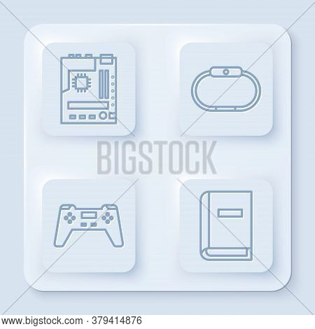 Set Line Motherboard, Smartwatch, Gamepad And User Manual. White Square Button. Vector