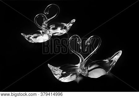 Couple Crystal Swans. Love Or Wedding Concept