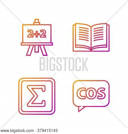 Set Line Tablet With Calculator, Geometric Figure Square, Calculator And Equation Solution. Gradient