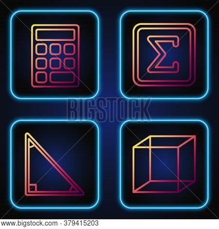 Set Line Function Mathematical Symbol, Calendar, Triangle Math And Geometric Figure Square. Gradient
