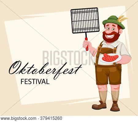 Oktoberfest Greeting Card. Man In Bavarian Clothes Holding Barbeque Grid And Fried Sausage, Funny Ca