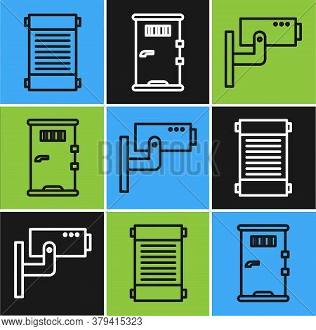 Set Line Decree, Paper, Parchment, Scroll, Security Camera And Prison Cell Door Icon. Vector