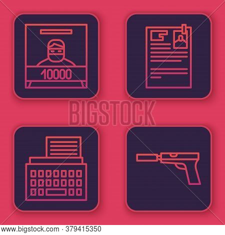 Set Line Wanted Poster, Retro Typewriter, Lawsuit Paper And Pistol Or Gun With Silencer. Blue Square