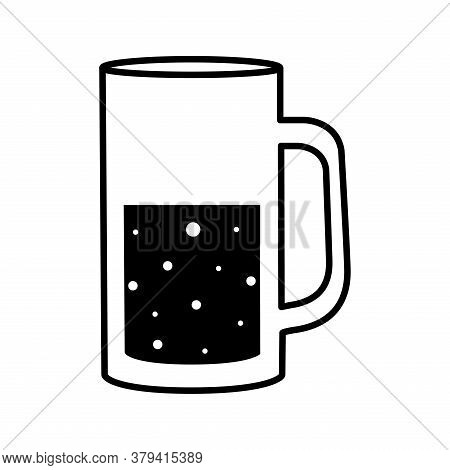 Beer Glass Silhouette Style Icon Design, Pub Alcohol Bar Brewery Drink Ale And Lager Theme Vector Il