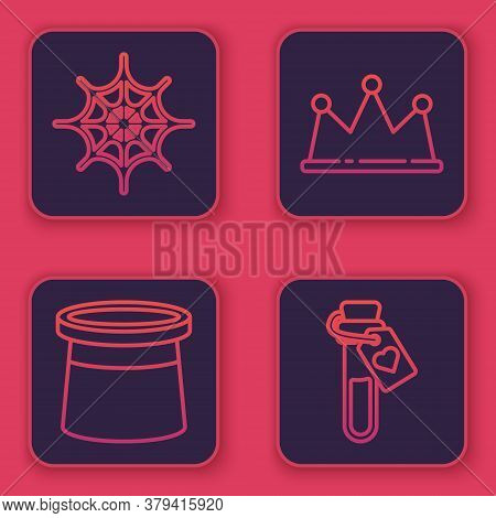 Set Line Spider Web, Magician Hat, Crown And Bottle With Love Potion. Blue Square Button. Vector