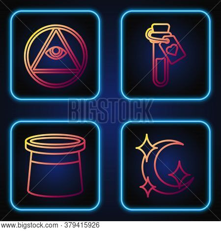 Set Line Moon And Stars, Magician Hat, Masons And Bottle With Love Potion. Gradient Color Icons. Vec