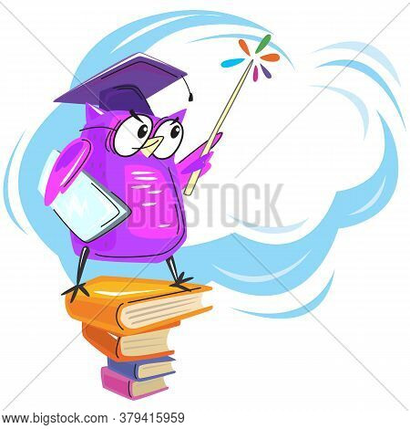 Wise Owl With Books And Graduate Hat