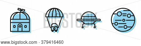 Set Line Ufo Flying Spaceship, Astronomical Observatory, Planet Saturn And Planet Mars Icon. Vector