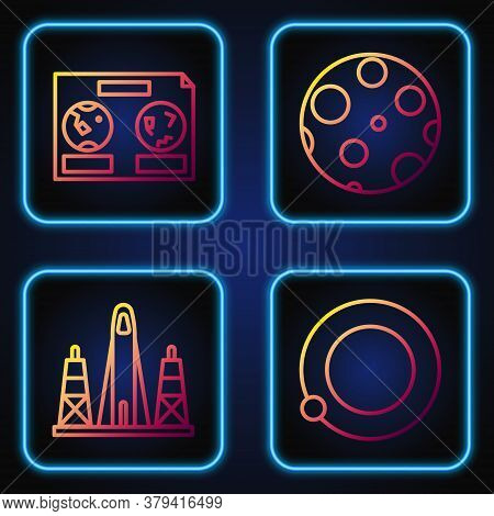 Set Line Satellites Orbiting The Planet Earth, Rocket Launch From The Spaceport, Celestial Map Of Th