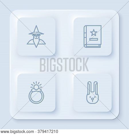Set Line Wizard Warlock, Ancient Magic Book, Magic Stone Ring With Gem And Rabbit Ears. White Square