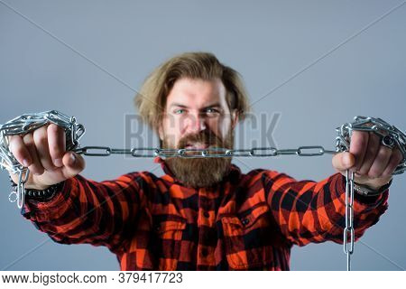 Man With Metal Chain. Dependence. Freedom Concept. Bearded Man With Chain. Slave. People Problems. B