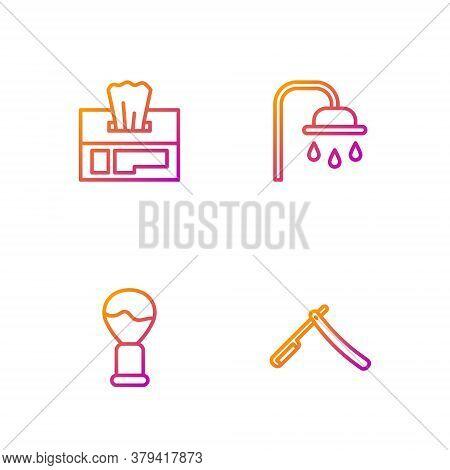 Set Line Straight Razor, Shaving Brush, Wet Wipe Pack And Shower Head. Gradient Color Icons. Vector