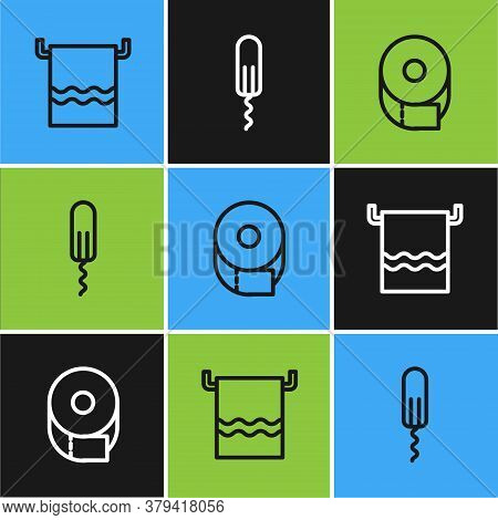 Set Line Towel On A Hanger, Toilet Paper Roll And Sanitary Tampon Icon. Vector