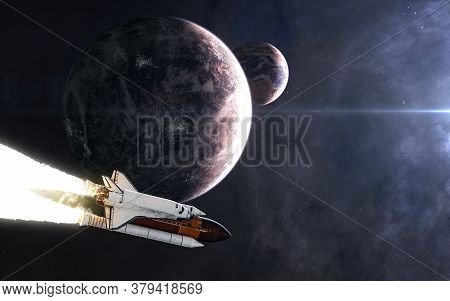 Space Shuttle In Open Space. Planets In Background Of Deep Space Nebulae. Science Fiction. Elements