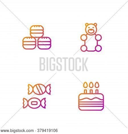 Set Line Cake With Burning Candles, Candy, Macaron Cookie And Jelly Bear Candy. Gradient Color Icons